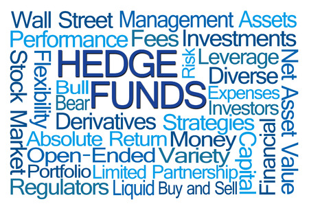 funds: Hedge Funds Word Cloud on White Background Stock Photo