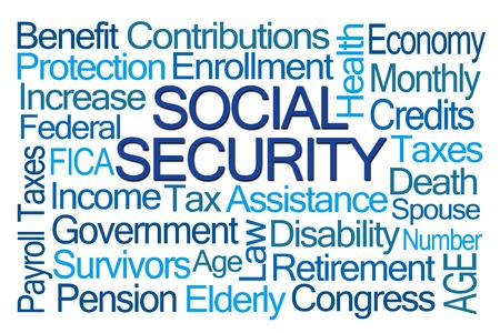 seguridad social: Seguridad Social nube de la palabra en el fondo blanco