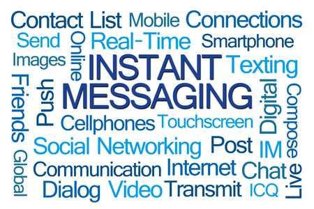 icq: Instant Messaging Word Cloud on White Background Stock Photo