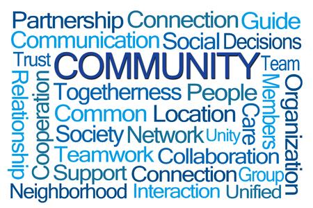 Community Word Cloud op een witte achtergrond