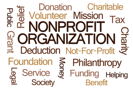 charitable: Nonprofit Organization Word Cloud on White Background Stock Photo
