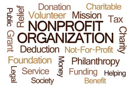 nonprofit: Nonprofit Organization Word Cloud on White Background Stock Photo