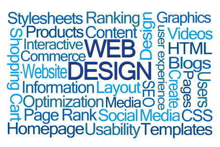 css: Web Design Word Cloud on White Background