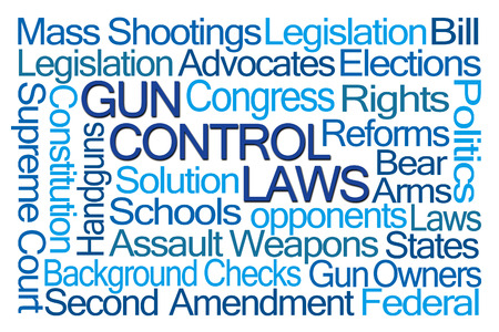 Gun Control Laws Word Cloud on White Background Stok Fotoğraf - 50380840