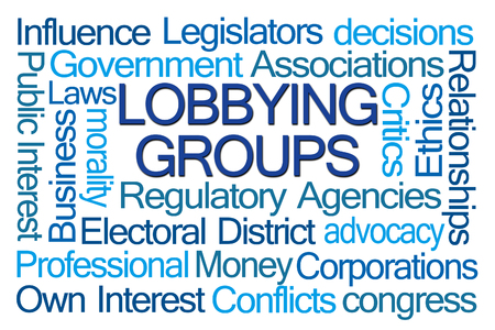 Lobbying Groups Word Cloud on White Background