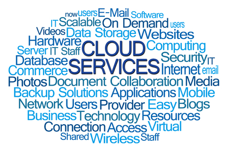 Cloud Services Word Cloud on White Background