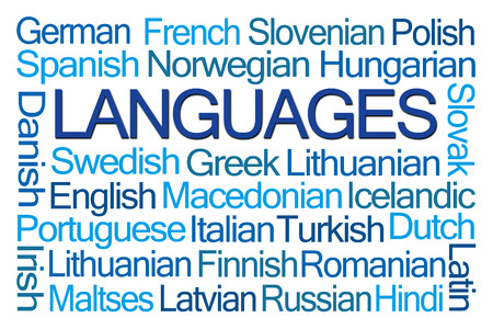 Languages Word Cloud on White Background Stock Photo