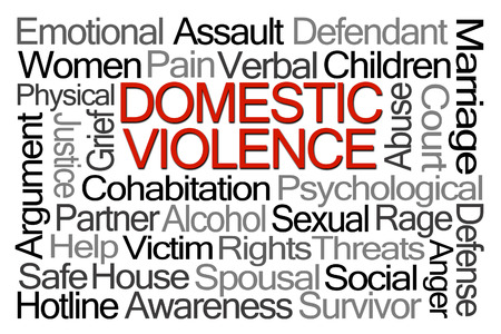 domestic: Domestic Violence Word Cloud on White Background Stock Photo