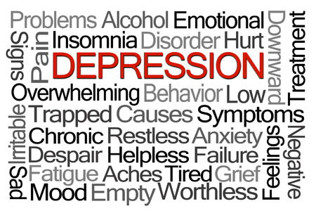 worthless: Depression Word Cloud on White Background