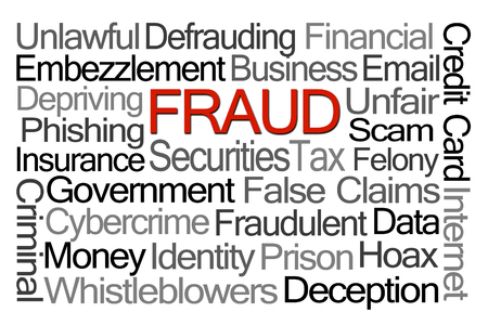 hoax: Fraud Word Cloud on White Background Stock Photo
