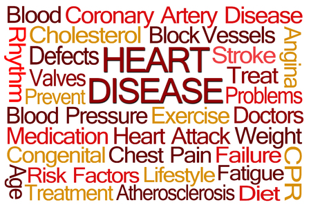 heart failure: Heart Disease Word Cloud on White Background