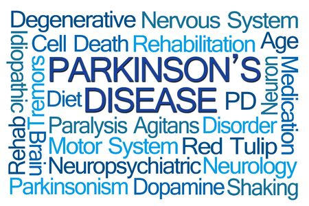 motor neuron: Parkinsons Disease Word Cloud on White Background Stock Photo