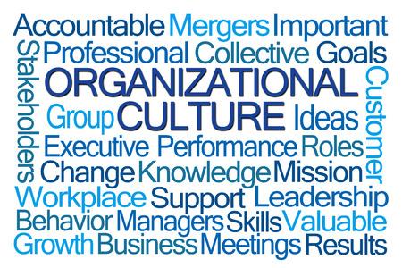 Cultura organizacional nube de la palabra en el fondo blanco