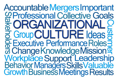 word: Organizational Culture Word Cloud on White Background
