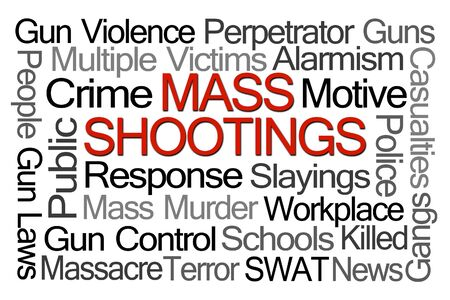 violence in the workplace: Mass Shootings Word Cloud on White Background Stock Photo