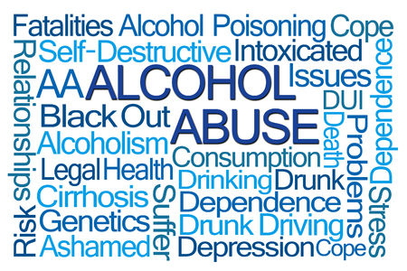 self dependent: Alcohol Abuse Word Cloud on White Background Stock Photo