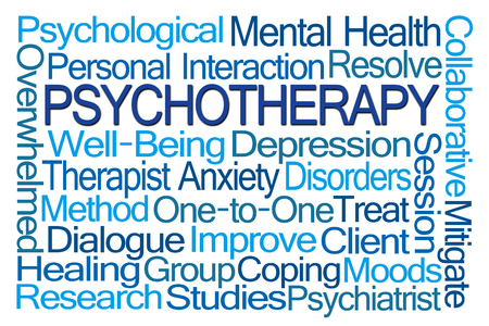 coping: Psychotherapy Word Cloud on White Background