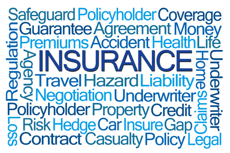 underwriter: Insurance Word Cloud on White Background Stock Photo