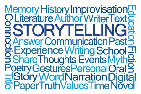 comunicacion oral: Contar una historia nube de la palabra en el fondo blanco Foto de archivo