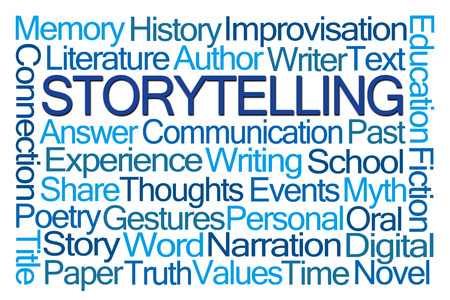 comunicacion oral: Storytelling Word Cloud on White Background Foto de archivo
