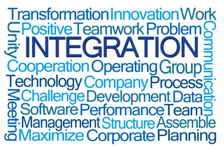word: Integration Word Cloud on White Background Stock Photo