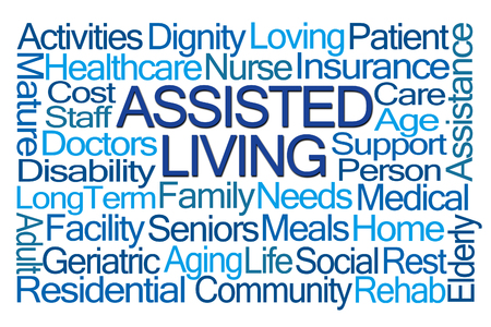 assisted living: Assisted Living Word Cloud on White Background Stock Photo