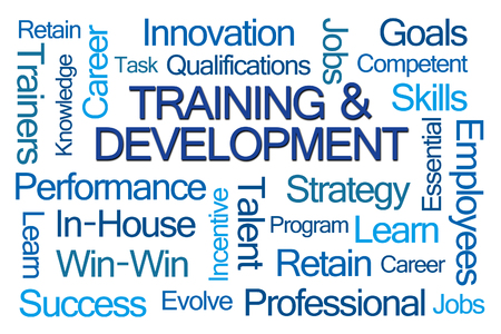 facilitator: Training and Development Word Cloud on White Background Stock Photo