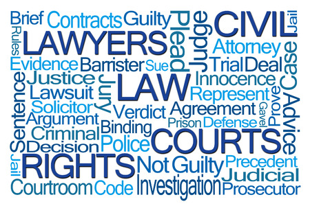 precedent: Law Word Cloud on White Background Stock Photo