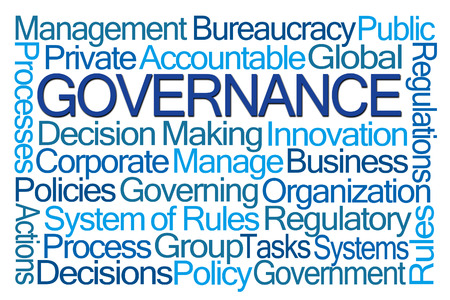 corporate governance: Governance Word Cloud on White Background Stock Photo