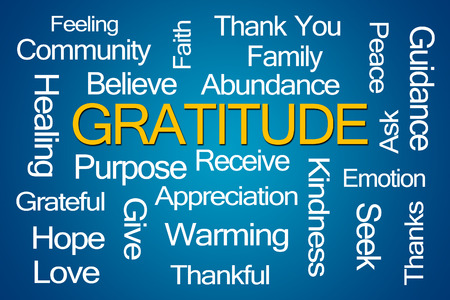 oneness: Gratitude Word Cloud on White Background