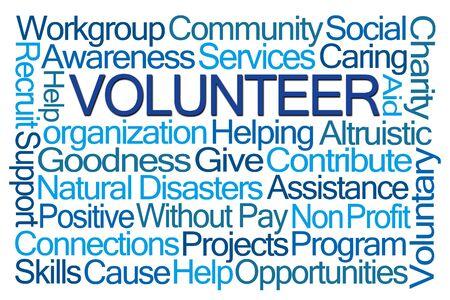 word cloud: Volunteer Word Cloud on White Background