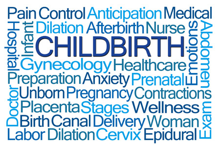 childbirth: Childbirth Word Cloud on White Background Stock Photo