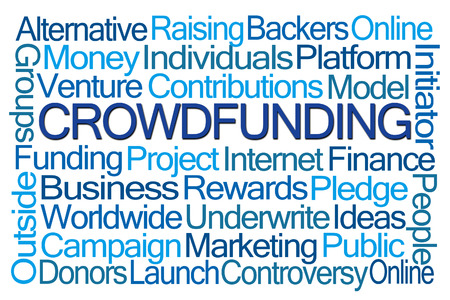 initiator: Crowdfunding Word Cloud on White Background Stock Photo