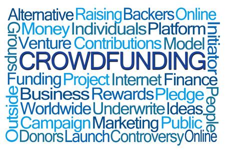 initiator: Crowdfunding Word Cloud on White Background Stock Photo