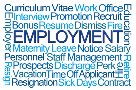 discharge time: Employment Word Cloud on White Background Stock Photo