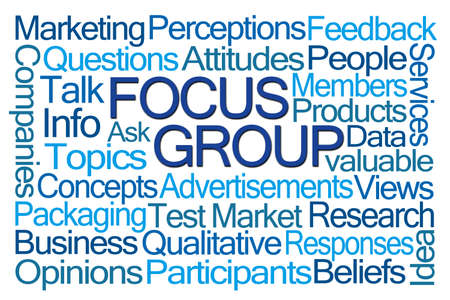 qualitative: Focus Group Word Cloud on White Background