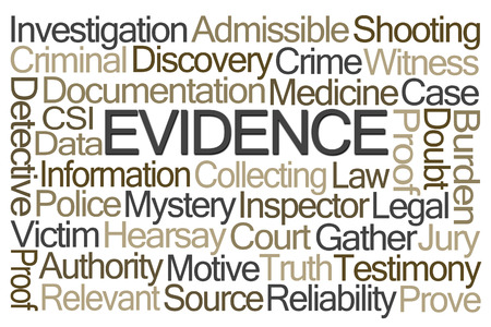 background csi: Evidence Word Cloud on White Background