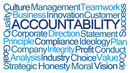 beliefs: Accountability Word Cloud on White Background Stock Photo