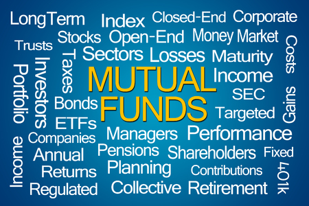 mutual: Mutual Funds Word Cloud on Blue Background