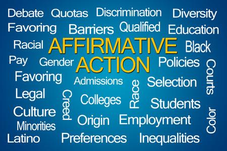 disadvantaged: Affirmative Action Word Cloud on Blue Background