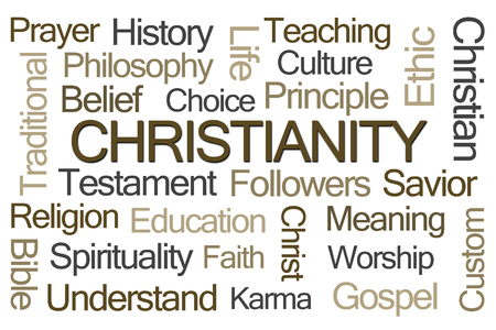 belief system: Christianity Word Cloud on White Background Stock Photo