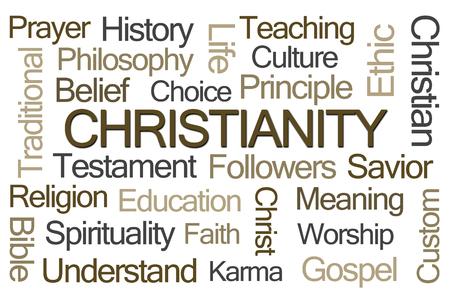 cristianismo: Cristianismo nube de la palabra en el fondo blanco