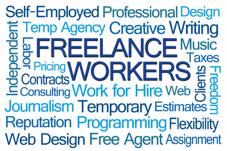 contractor: Freelance Workers Word Cloud on White Background
