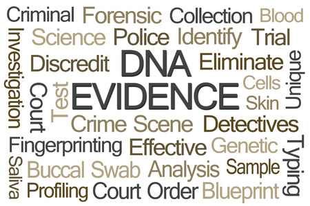 buccal: DNA Evidence Word Cloud on White Background