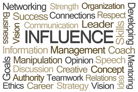 opinions: Influence Word Cloud on White Background