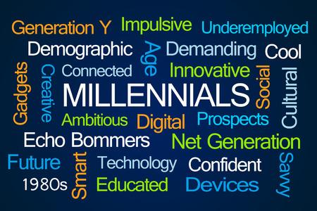 savvy: Millennials Word Cloud on Blue Background Stock Photo
