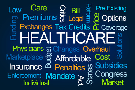 mandate: Healthcare Word Cloud on Blue Background Stock Photo