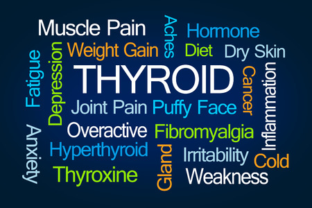Thyroid Word Cloud on Blue Background