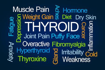 fibromyalgia: Thyroid Word Cloud on Blue Background