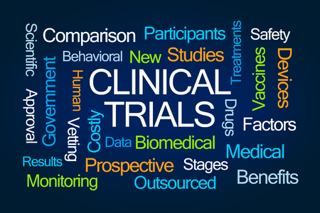 clinical: Clinical Trials Word Cloud on Blue Background